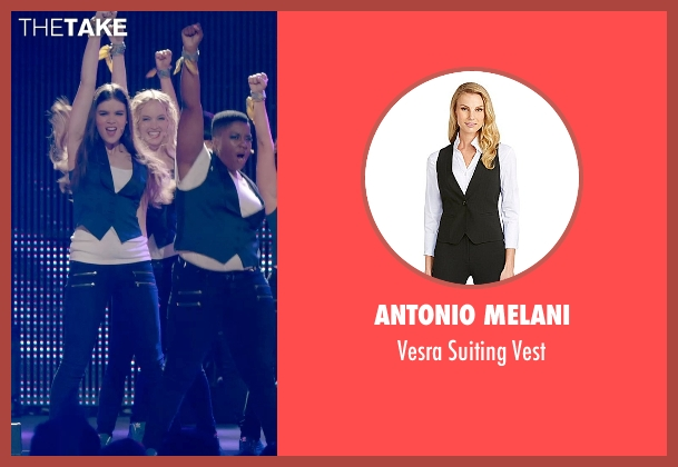 Antonio Melani blue vest from Pitch Perfect 2 seen with Kelley Jakle (Jessica)