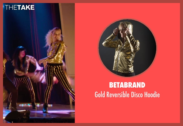 Betabrand gold hoodie from Pitch Perfect 2 seen with Kelley Jakle (Jessica)