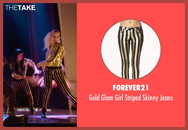 Forever21 gold jeans from Pitch Perfect 2 seen with Kelley Jakle (Jessica)