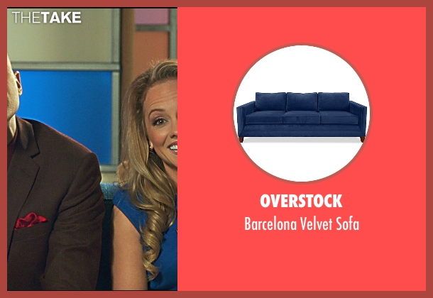 Overstock blue sofa from Horrible Bosses 2 seen with Kelly Stables (Rachel)