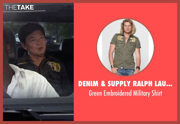 Denim & Supply Ralph Lauren green shirt from Ride Along 2 seen with Ken Jeong (A.J.)