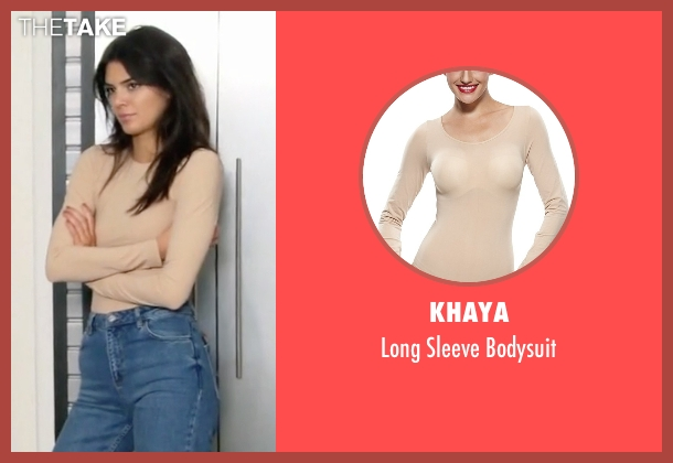 Khaya beige bodysuit from Keeping Up With The Kardashians seen with Kendall Jenner