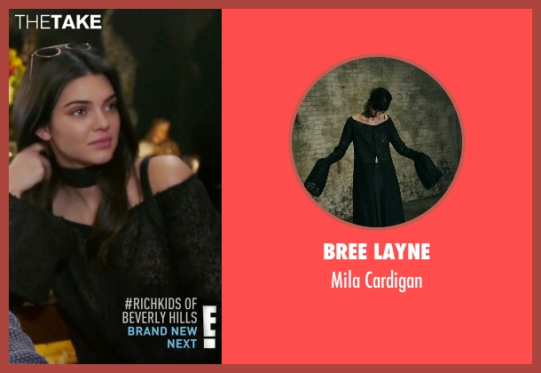 Bree Layne black cardigan from Keeping Up With The Kardashians seen with Kendall Jenner
