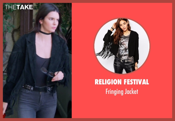 Religion Festival black jacket from Keeping Up With The Kardashians seen with Kendall Jenner