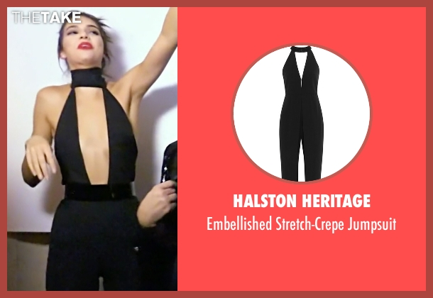 Halston Heritage black jumpsuit from Keeping Up With The Kardashians seen with Kendall Jenner