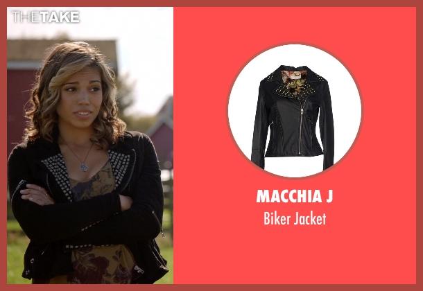 Macchia J black jacket from Arrow seen with Kendra Saunders / Hawkgirl (Ciara Renée)