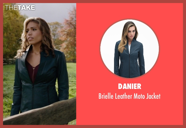 Danier blue jacket from Arrow seen with Kendra Saunders / Hawkgirl (Ciara Renée)
