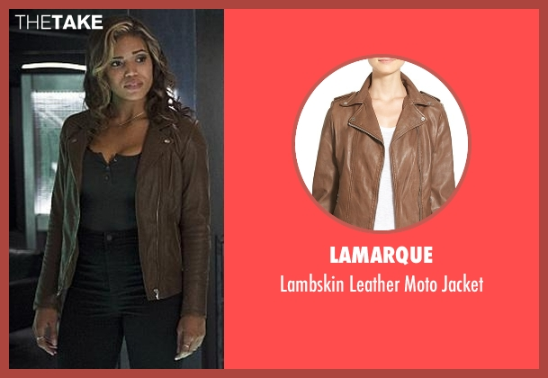 Lamarque brown leather moto jacket from The Flash seen with Kendra Saunders / Hawkgirl (Ciara Renée)