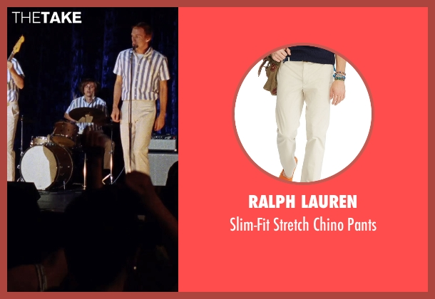 Ralph Lauren beige pants from Love & Mercy seen with Kenny Wormald (Dennis Wilson)