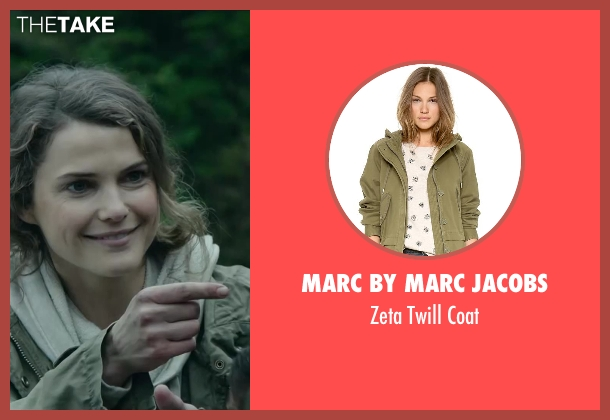 MARC by MARC JACOBS green coat from Dawn of the Planet of the Apes seen with Keri Russell (Ellie)