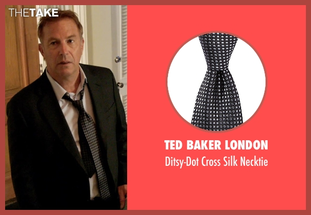 Ted Baker London black necktie from Black or White seen with Kevin Costner (Elliot Anderson)
