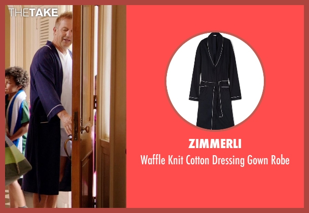 Zimmerli blue robe from Black or White seen with Kevin Costner (Elliot Anderson)