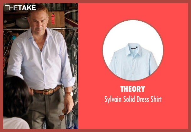Theory blue shirt from Black or White seen with Kevin Costner (Elliot Anderson)