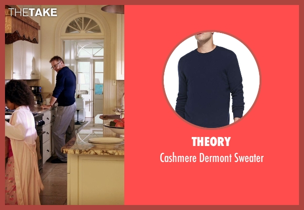 Theory blue sweater from Black or White seen with Kevin Costner (Elliot Anderson)
