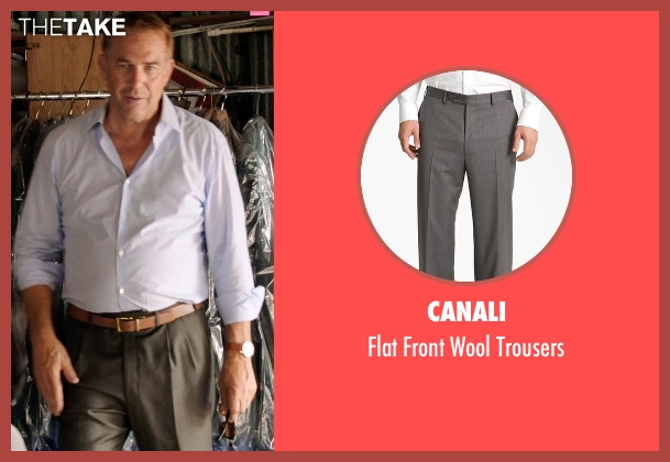 Canali gray trousers from Black or White seen with Kevin Costner (Elliot Anderson)