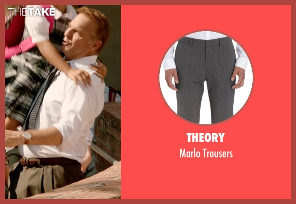 Theory gray trousers from Black or White seen with Kevin Costner (Elliot Anderson)