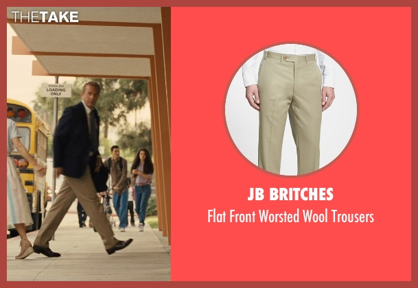 JB Britches beige trousers from McFarland, USA seen with Kevin Costner (Jim White)