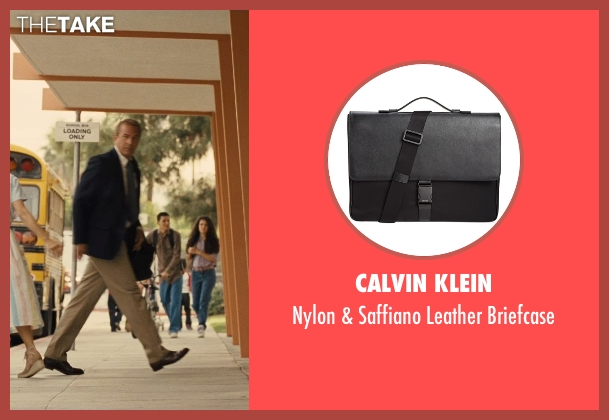 Calvin Klein black briefcase from McFarland, USA seen with Kevin Costner (Jim White)