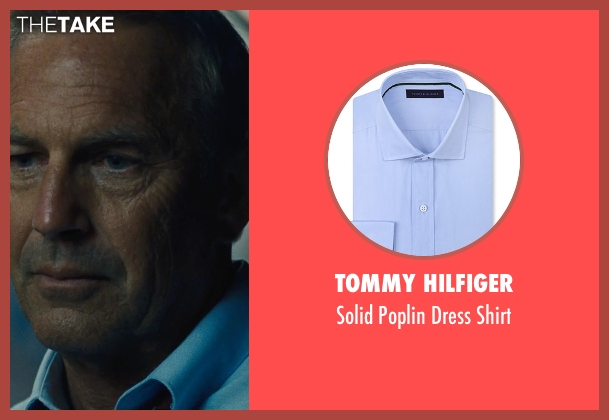 Tommy Hilfiger blue shirt from McFarland, USA seen with Kevin Costner (Jim White)