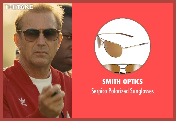 Smith Optics brown sunglasses from McFarland, USA seen with Kevin Costner (Jim White)