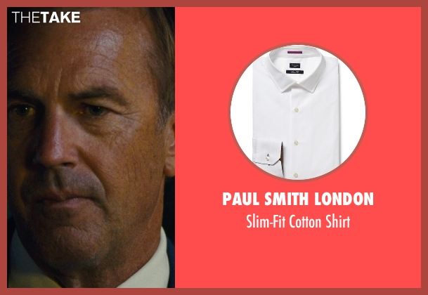 Paul Smith London white shirt from McFarland, USA seen with Kevin Costner (Jim White)