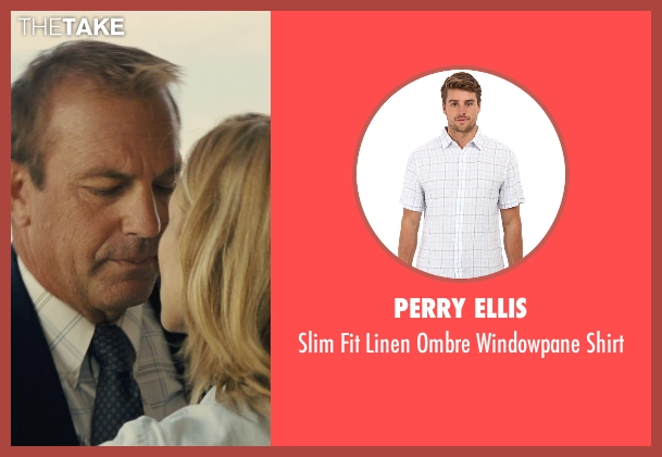 Perry Ellis white shirt from McFarland, USA seen with Kevin Costner (Jim White)