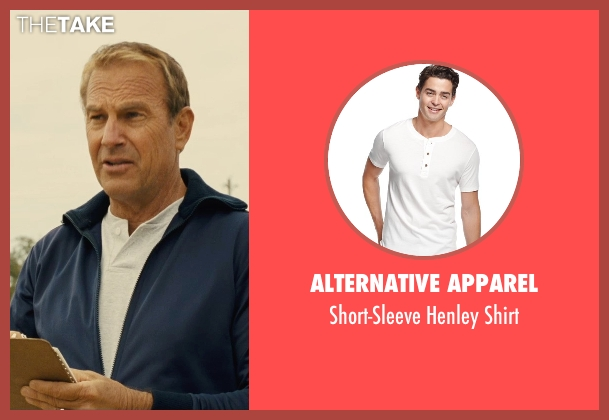 Alternative Apparel white shirt from McFarland, USA seen with Kevin Costner (Jim White)