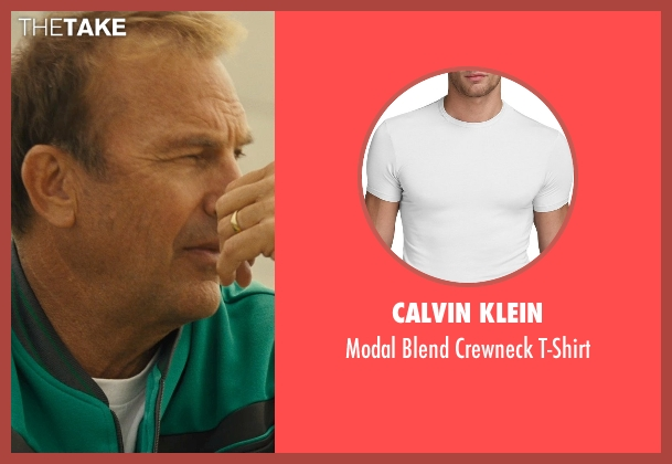 Calvin Klein white t-shirt from McFarland, USA seen with Kevin Costner (Jim White)