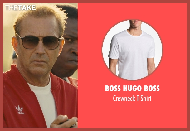 Boss Hugo Boss white t-shirt from McFarland, USA seen with Kevin Costner (Jim White)