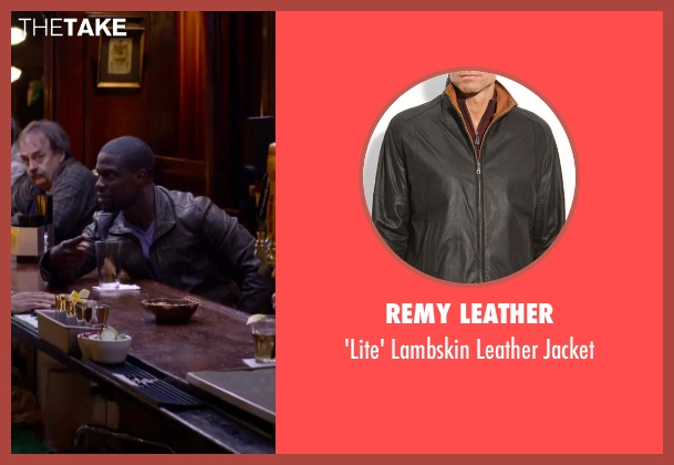 Remy Leather black jacket from About Last Night seen with Kevin Hart (Bernie)