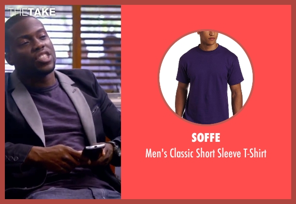 Soffe purple t-shirt from About Last Night seen with Kevin Hart (Bernie)
