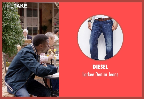 Diesel blue jeans from Get Hard seen with Kevin Hart (Darnell Lewis)