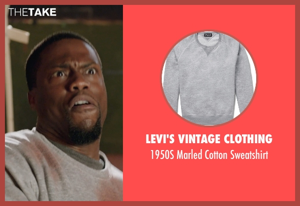 Levi's Vintage Clothing gray sweatshirt from Get Hard seen with Kevin Hart (Darnell Lewis)