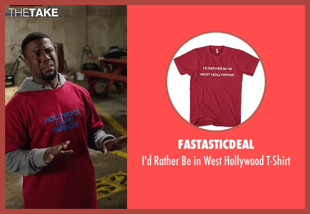 Fastasticdeal red t-shirt from Get Hard seen with Kevin Hart (Darnell Lewis)