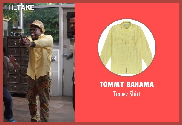 Tommy Bahama yellow shirt from Ride Along 2 seen with Kevin Hart (Ben Barber)