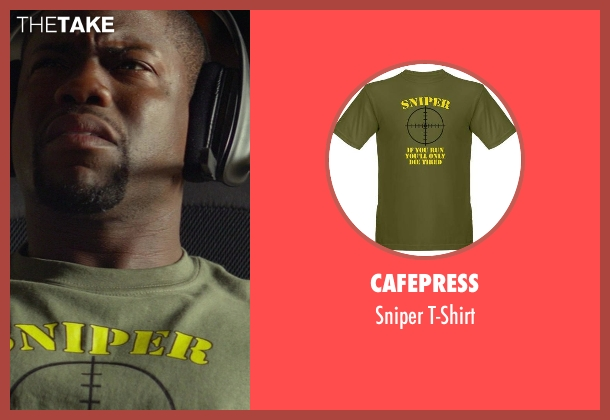 CafePress green t-shirt from Ride Along seen with Kevin Hart (Ben Barber)
