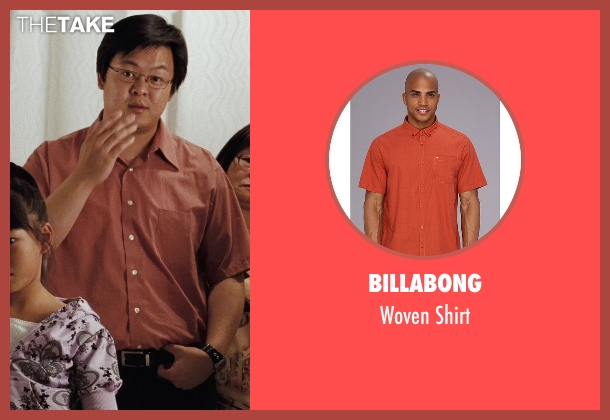 Billabong orange shirt from (500) Days of Summer seen with Kevin Leung (Chinese Father)