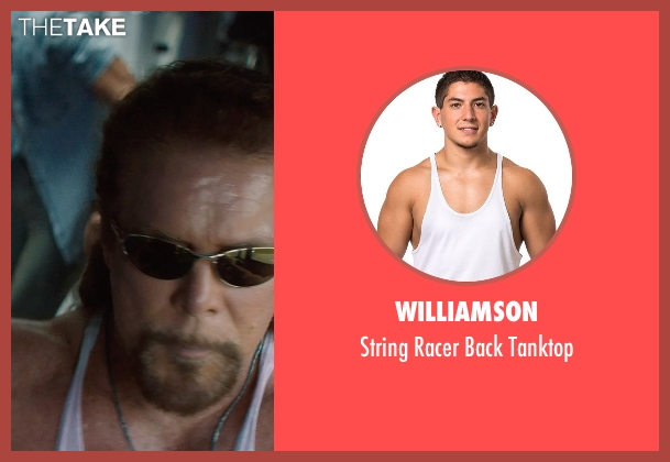 Williamson white tanktop from Magic Mike XXL seen with Kevin Nash (Tarzan)