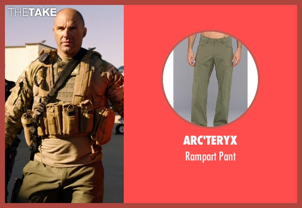 Arc'teryx green pant from Sabotage seen with Kevin Vance (Bryce 'Tripod' McNeely)