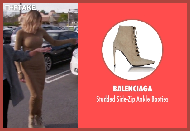 Balenciaga beige booties from Keeping Up With The Kardashians seen with Khloe Kardashian