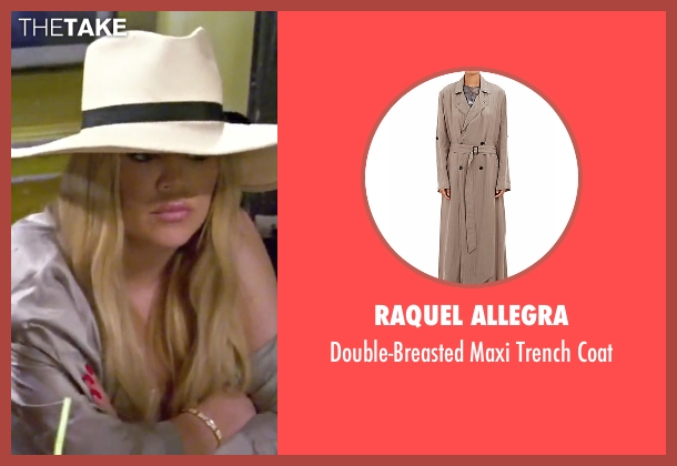 Raquel Allegra beige coat from Keeping Up With The Kardashians seen with Khloe Kardashian