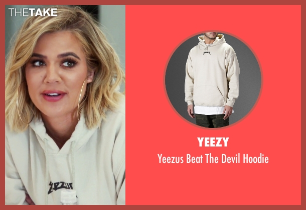 Yeezy beige hoodie from Keeping Up With The Kardashians seen with Khloe Kardashian