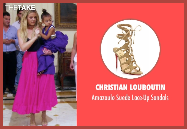 Christian Louboutin beige sandals from Keeping Up With The Kardashians seen with Khloe Kardashian