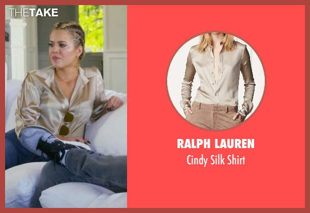 Ralph Lauren beige shirt from Keeping Up With The Kardashians seen with Khloe Kardashian