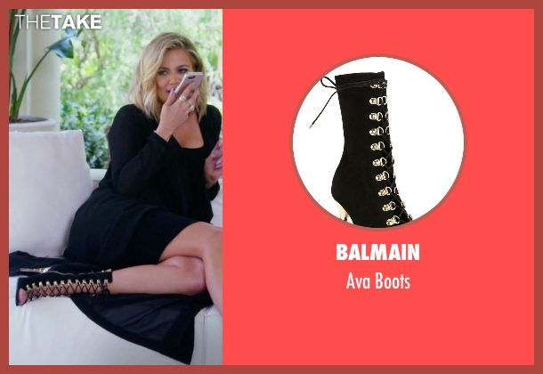 Balmain black boots from Keeping Up With The Kardashians seen with Khloe Kardashian