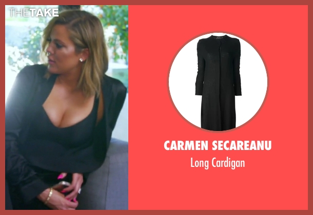 Carmen Secareanu black cardigan from Keeping Up With The Kardashians seen with Khloe Kardashian