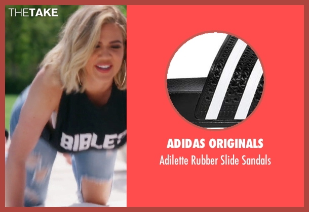 Adidas black sandals from Keeping Up With The Kardashians seen with Khloe Kardashian