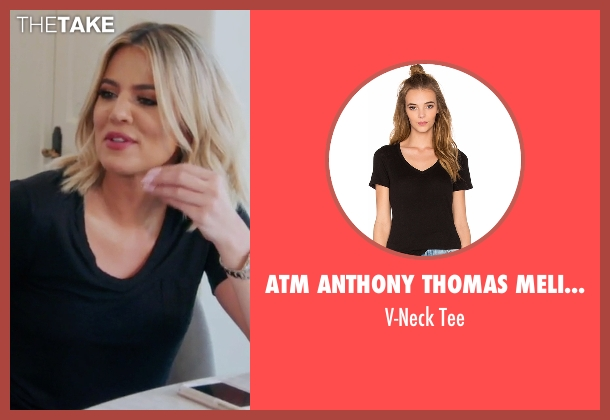 ATM Anthony Thomas Melillo black tee from Keeping Up With The Kardashians seen with Khloe Kardashian