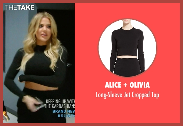 Alice + Olivia black top from Keeping Up With The Kardashians seen with Khloe Kardashian