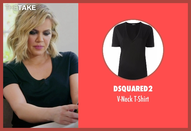 Dsquared2 black t-shirt from Keeping Up With The Kardashians seen with Khloe Kardashian